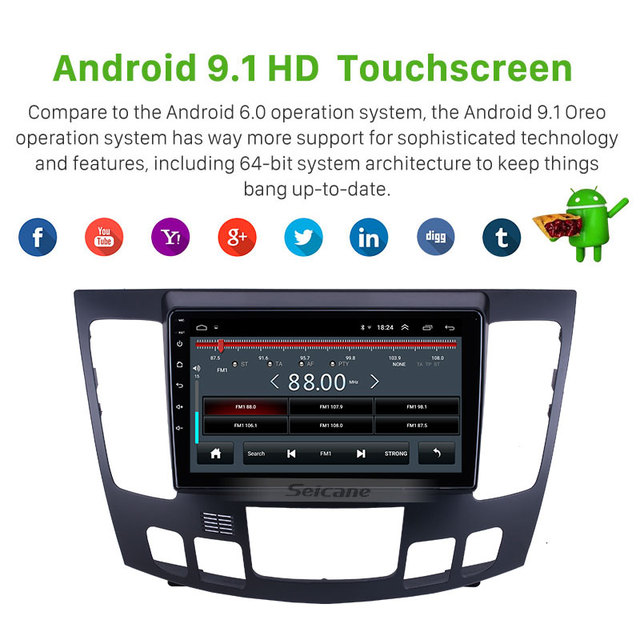 Seicane 2G + 32G Android 10.0 GPS voiture lecteur multimédia 9 pouces Carplay HD RDS unité lecteur pour 2009 Hyundai Sonata Auto A/C Radio
