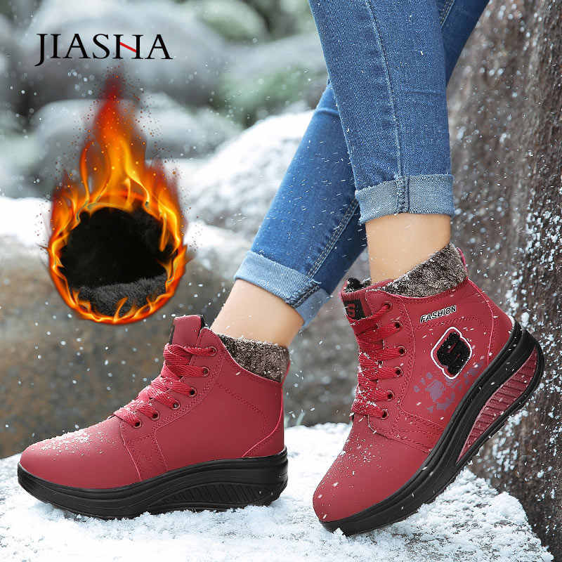 Vrouwen laarzen 2019 nieuwe winter schoenen vrouw enkellaars plus size pu winter laarzen vrouwen sneakers pu pluche warm lace up winter schoenen