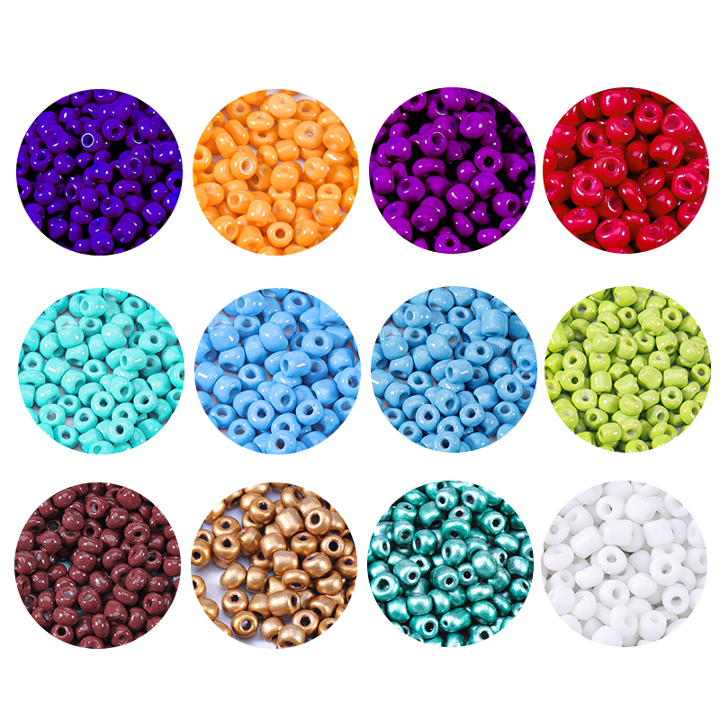 1000PCS 2.5/3/4mm  Czech Glass Seed Beads Baking Paint Peads Dyed Core Beads Hole Bead Spacer DIY Beads For Kids Jewelry Making