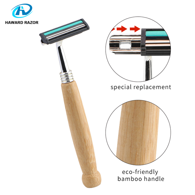 HAWARD Razor Eco Friendly Bamboo Handle Twin Blade Razor Hair Removal Travel Razor Replaceable Razor Head Blade Cartridge 4