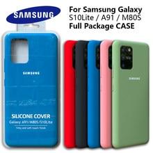 Galaxy S10Lite Fall Original Samsung A91 Seidige Silikon Abdeckung Hohe Qualität Soft-Touch Zurück Schutzhülle Galaxy M80s S10 LITE