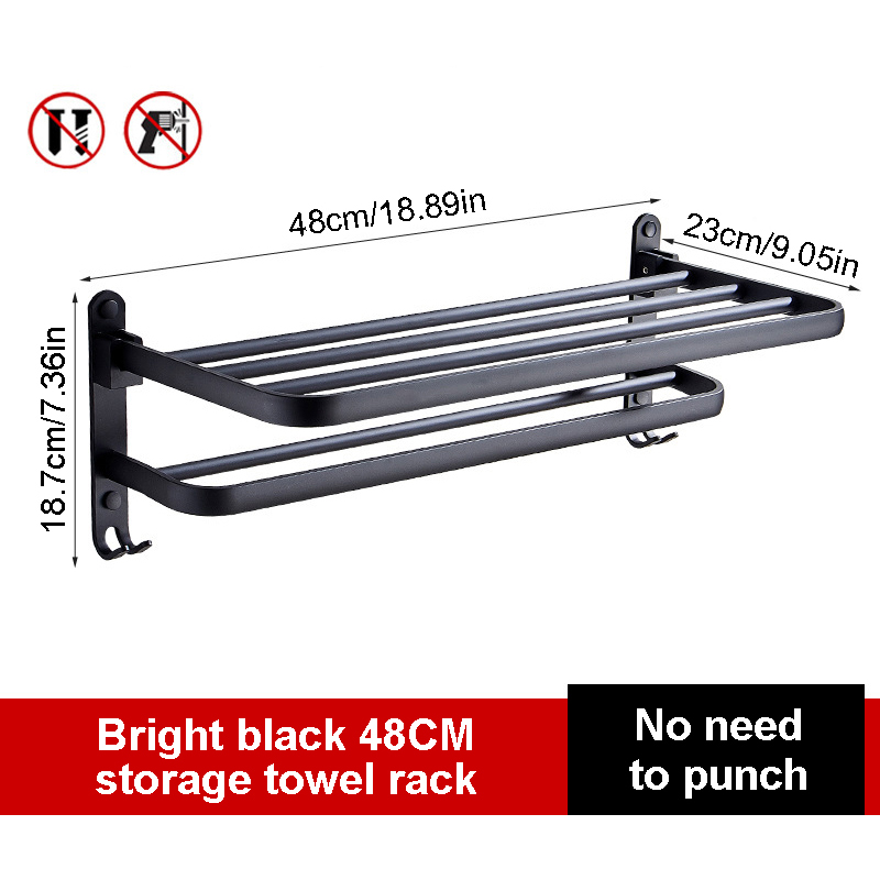 Towel Rack Bathroom Holder Matte Black Aluminum Organizer Hanger Wall Mounted Folding Locker Room Storage Shelf Hook Accessories