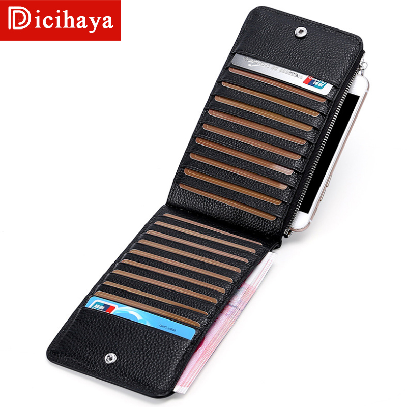 Dicihaya FRID Men Wallets Card Holder Leather Male Wallet Luxury Long Design Quality Cover Fashion Casual Mens Card Purse Zipper