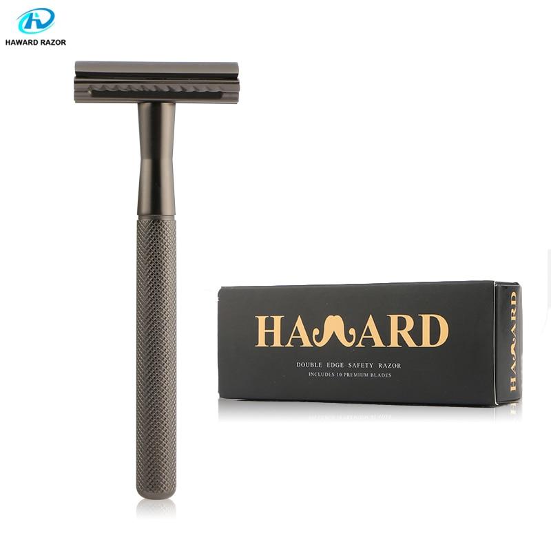 HAWARD Men's Double Edge Safety Razor Classic Shaving Razor Zinc Alloy Metal Manual Shaver Women Hair Removal Shaver 10 Blades