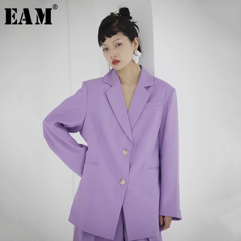 [EAM]  Women Purple Brief Temperament Big Size Blazer New Lapel Long Sleeve Loose Fit  Jacket Fashion Spring Autumn 2020 1S713
