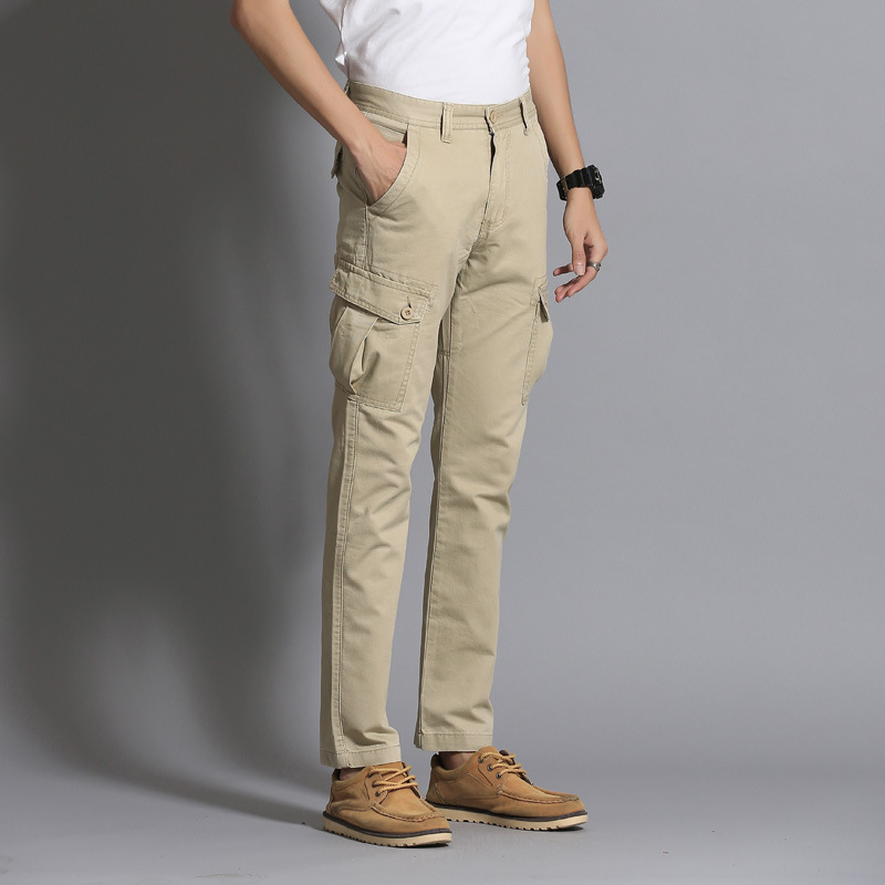 Men's New Style Casual Pants Men's Straight-Cut Bib Overall Fashion Multi-pockets Loose Casual Pants MEN'S Trousers 202