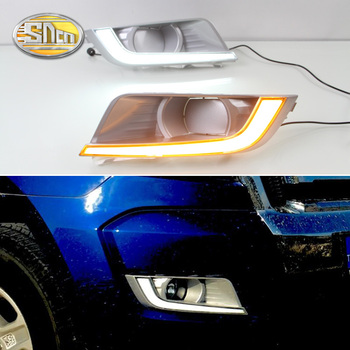 For Ford Ranger 2015 2016 SNCN Led Daytime Running Lights DRL fog lamp cover with Yellow Turning Signal Function