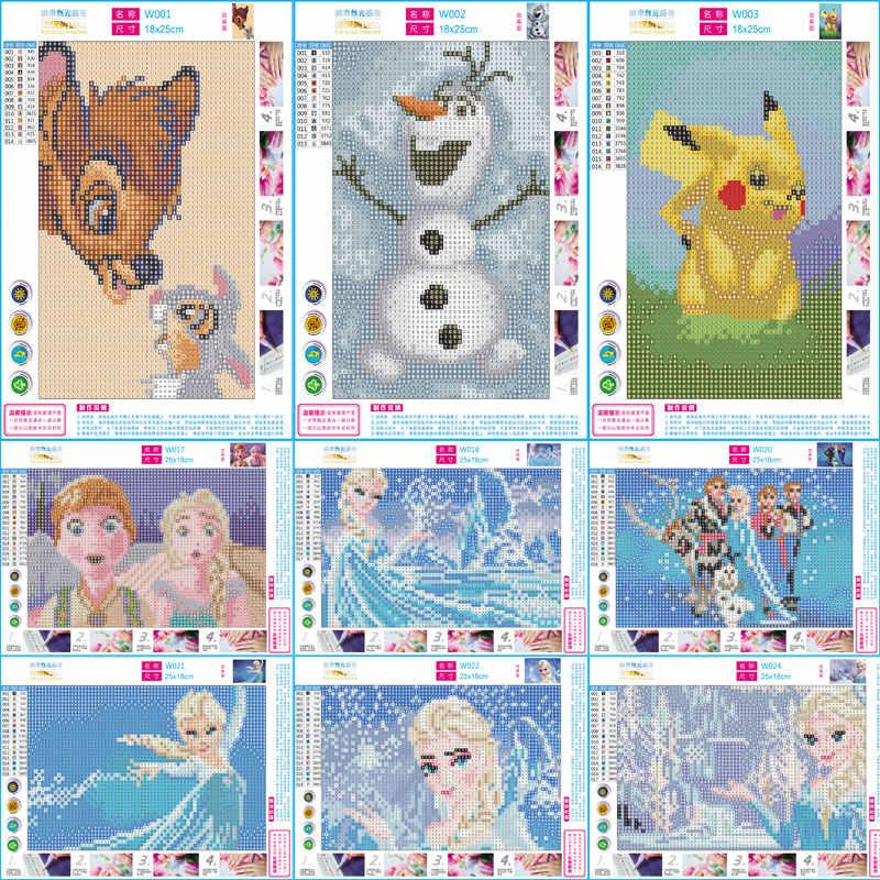 5D יהלומי ציור פסיפס קריקטורה נסיכת יהלומי רקמת מלא עגול תרגיל Diy צלב סטיץ ילדי עיצוב הבית