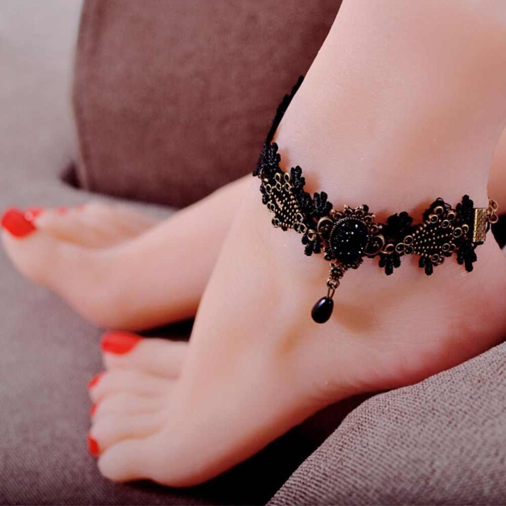 1 Máy Tính Màu Đen Họa Tiết Hoa Ren Hoa Mắt Cá Chân Gothic Dây Chuyền Vintage Chân Trang Sức Nữ Mắt Cá Chân Vòng Tay Chân Trần Sandal CướI Ren Anklets