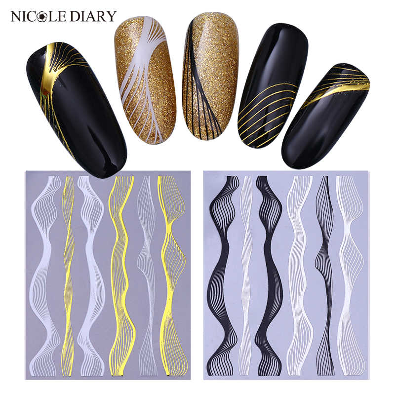 Nicole Buku Harian Nail Art Self-Adhesive Sticker Logam Lurus Stripe Wave Line Tape Transfer Nail Foil 3D DIY Decal dekorasi