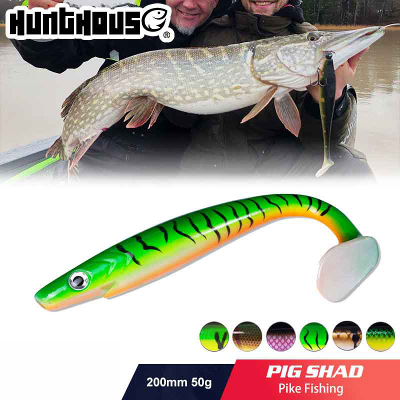 Hunthouse 2pcs/lot Pro Shad Pike Lure 20cm 50g Paint Printing Lure Paddle Tail Shad Silicone Souple Leurre Natural Musky