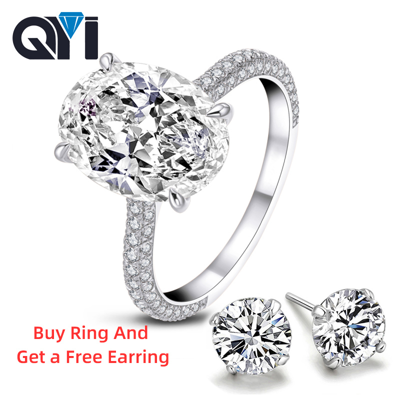 QYI Rings for Women 5 ct 925 Sterling Silver Wedding Rings Oval cut Cubic Zirconia Accessories Jewelry Gift