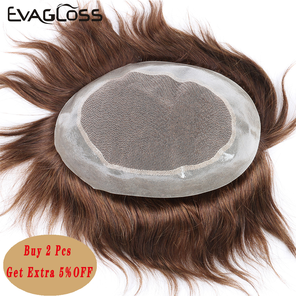 EVAGLOSS Human Hair Prosthesis Male Wig Hair System For Men Indian Remy Hair Men's Toupee Free Shipping
