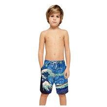 Летние Гавайские эластичные шорты для мальчиков детская одежда для купания с 3d принтом пляжные шорты быстросохнущие плавки для плавания BeavhwearDPY3