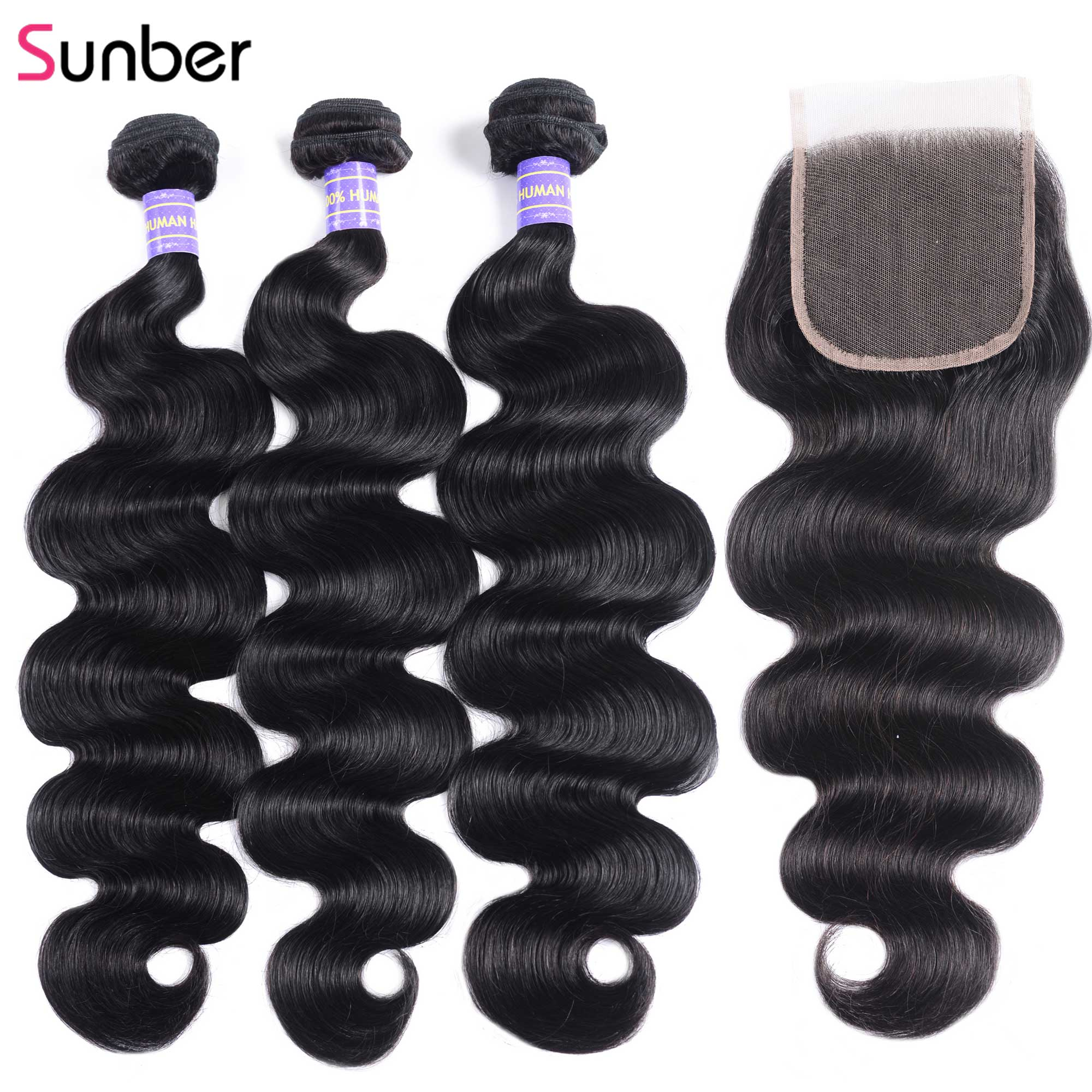 Sunber Hair Indian Hair Body Wave Human Hair Bundles With Closure Remy Hair Extension 8-26 Inch 2/3/4 Bundles With Closure