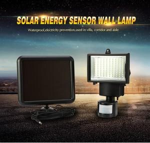 Image 1 - 방수 PIR 안전 벽 빛 100 LED 야외 태양 모션 센서 정원 빛 정원 투광 조명 거리 빛 새로운 센서