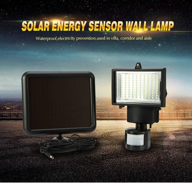 방수 PIR 안전 벽 빛 100 LED 야외 태양 모션 센서 정원 빛 정원 투광 조명 거리 빛 새로운 센서