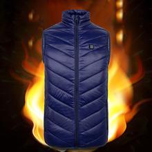 2020 Men Women Winter Heating Waistcoat Sleeveless USB Charging Zipper Smart Cotton Vest Blue Black Outdoor sportswear outwear