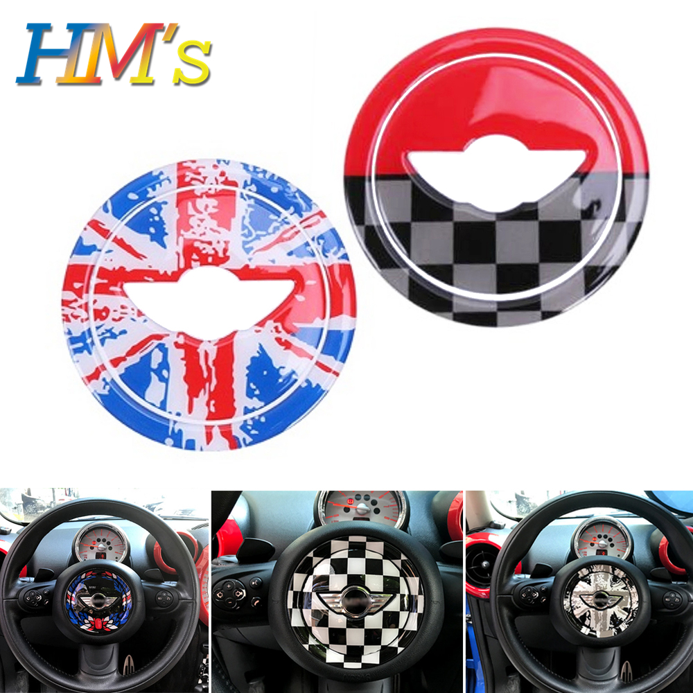 For Mini Cooper R56 R55 R57 Car Steering Wheel Center Panel Sticker For Mini Cooper Countryman R60 For Mini R56 R55 R60 Parts