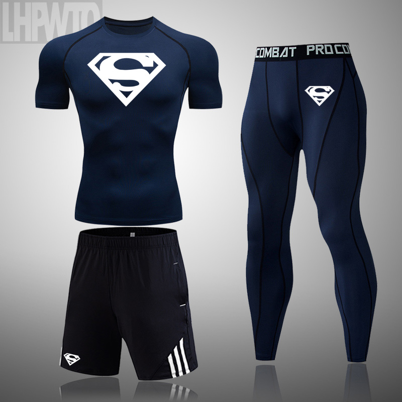 running - Men's Brand Clothes Superman Sportswear Compression Set rashgard male summer Short sleeve Tights training base leggings T-shirt