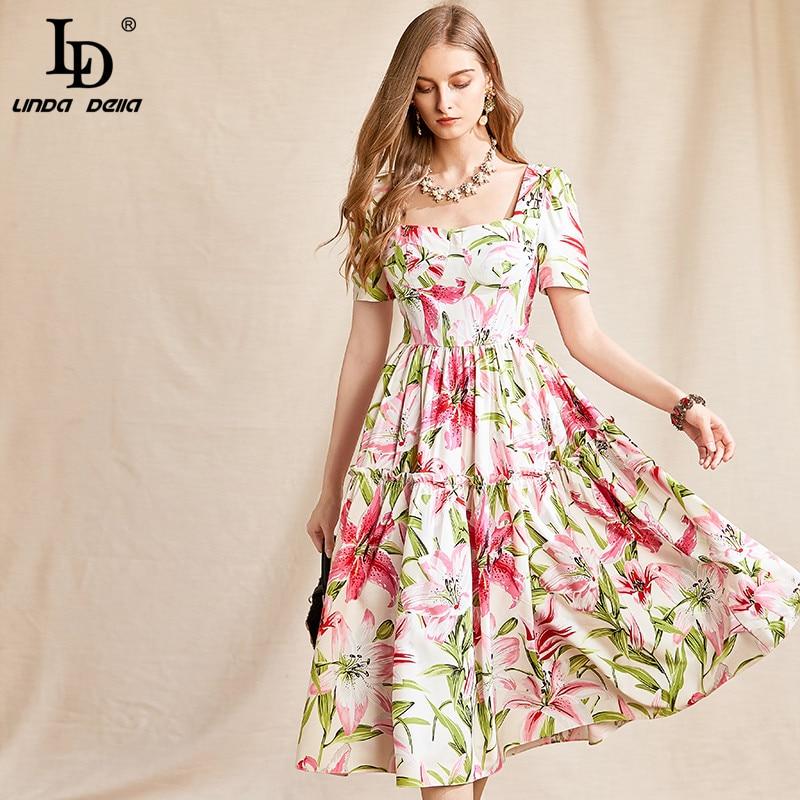 LD LINDA DELLA Runway Summer Holiday Casual Women Midi Dress Fashion Square Collar drappeggiato Flower Print Lady Chiffon Beach Dress