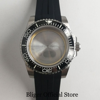 BLIGER 40mm Watch Case Sapphire Glass Ceramic Bezel + Watch Rubber Strap Fit ETA 2836 MIYOTA Movement