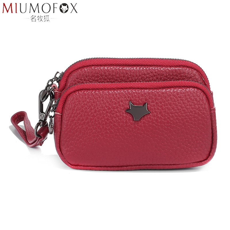 Fashion New Coin Purses Women Wallet Large Capacity Double Zipper Designer Cosmetic Organizer Pouch Genuine Leather Change Purse