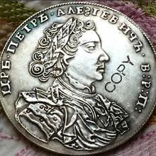 1707 Россия 1 Rouble копия монет Копер производство Посеребренная