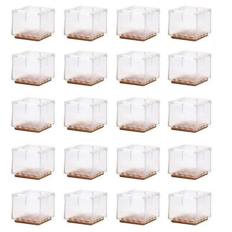20 Pack Chair Leg Floor Protection Pad Square Furniture Table Table Leg Anti-Slip Cover Suitable For 30-35mm Square Legs