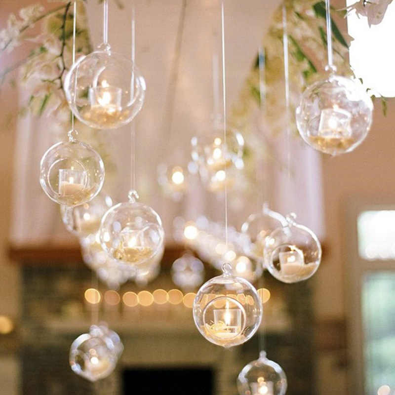 4 Size Crystal Transparent Glass Hanging Candle Holder Classic Romantic Wedding Dinner Decor Candlestick Bar Decor Party Home