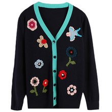 Shuchan Autumn Winter 2019 New Items Fashionable Cardigans Embroidery Floral Women Sweater with A Pattern Knitted Sweater 11074 dark grey embroidery pattern lantern sleeves knitted cardigans