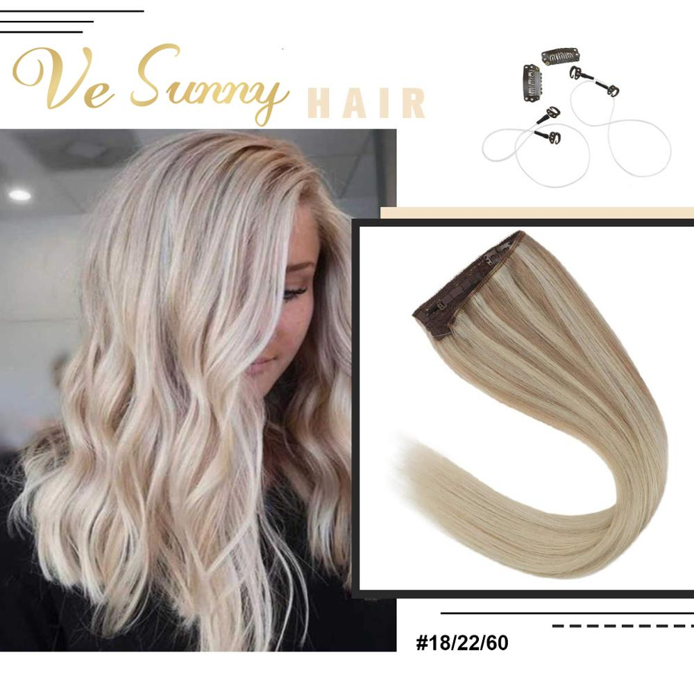 VeSunny One Piece Invisible Halo Hair Extensions 100% Human Hair Flip In Wire With Clips Easy Weft Balayage Blonde #18/22/60