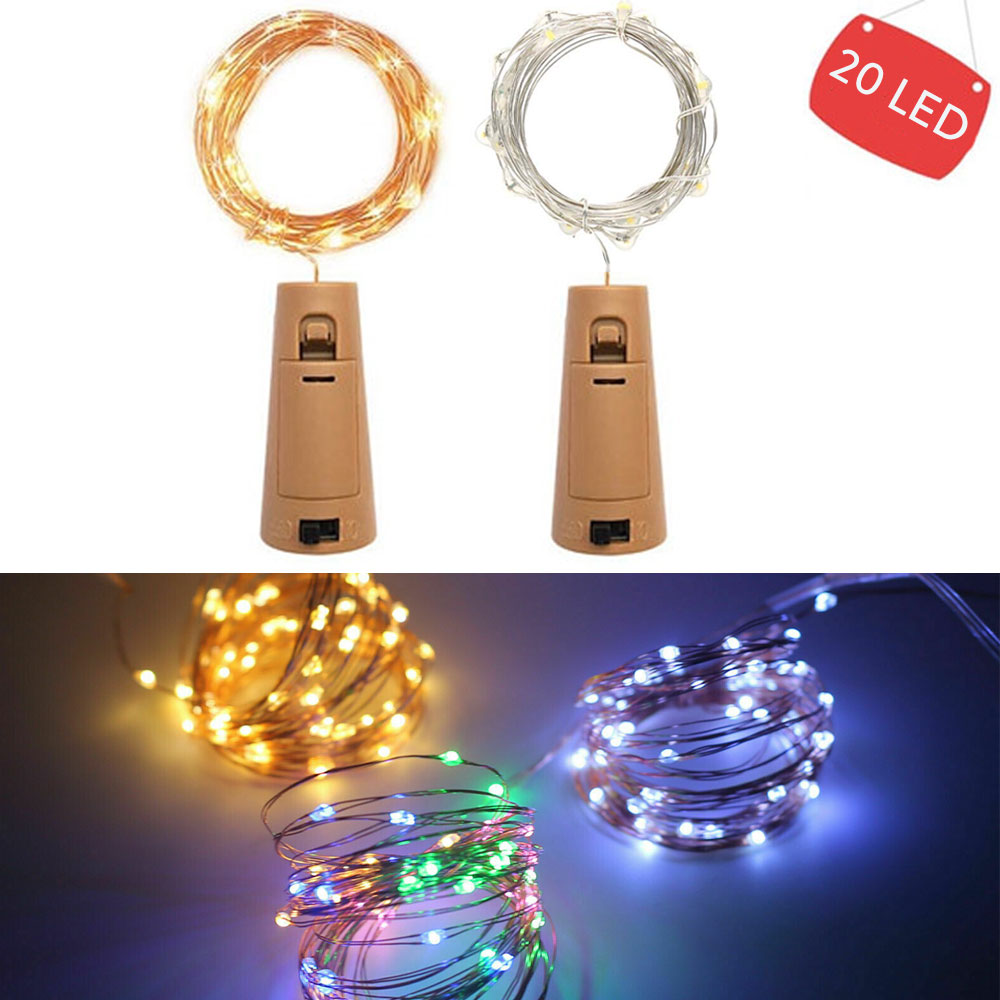 2M 20LEDs LED Wine Bottle Lights Cork Shape Copper Wire Colorful Mini String Lights For Indoor Outdoor Wedding Christmas Lights