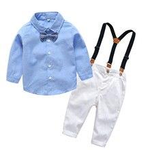 2Pcs Boys Clothes Set Baby Boys Outfits Kids Suits Baptism Wear Shirt + Trousers Gentleman Weddding Party Flower Boy's Suit