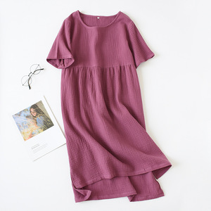 Image 2 - 夏パジャマ綿 100% クレープ半袖sleepshirtsプラスサイズルースナイトガウン女性の夜のガウンセクシーな睡眠ドレス