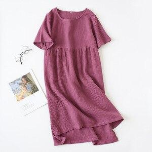 Image 2 - Summer Sleepwear 100% Cotton Crepe Short sleeved Sleepshirts Plus Size Loose Nightgowns Women Night Gown Sexy Sleeping Dress