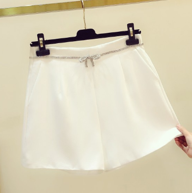 2020 Summer New Style White Crystal Bow High Waist Shorts Women's Slim Fit Wide Leg Short Trousers Girls Ladies Black Shorts