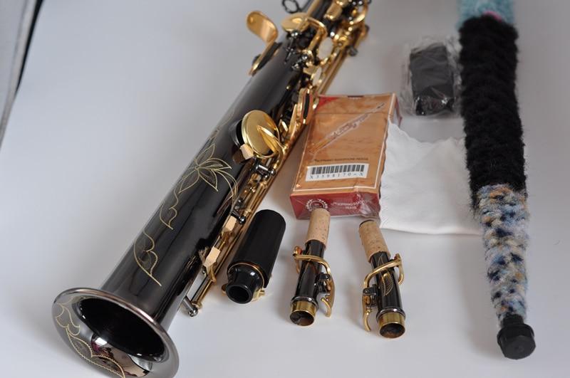 France Soprano Saxophone R54 Straight Sax B Flat Saxofone Professional Musical Brass Instruments Black Nickel Gold Accessories - 2