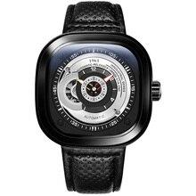Роскошные Брендовые мужские механические часы с пряжкой из сплава и нержавеющей стали, модные трендовые мужские часы с квадратной кожаной пряжкой