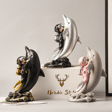 Resin Diver Figurines Home Decoration Accessories Cute Dolphin Statue Decoration Children's Room Desk Decoration Birthday Gifts