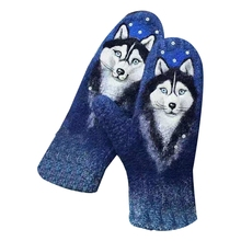 Mittens Full-Finger-Gloves Cashmere Animal Print Warm Winter Women Windproof Cat Floral
