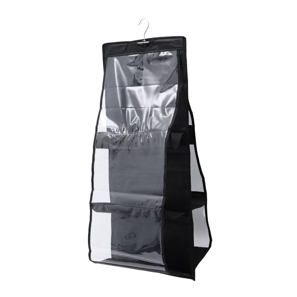 6 Pocket Folding Hanging Large Clear Handbag Purse Storage Holder Anti-dust Organizer Rack Hook Hanger Storage Bag Closet Hanger