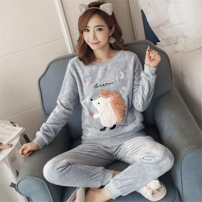 Cartoon Animal Pajamas For Women Sleepwear Winter Thick Warm Coral Pyjamas Women Autumn Pijama Mujer Verano Nightwear Pajama Set