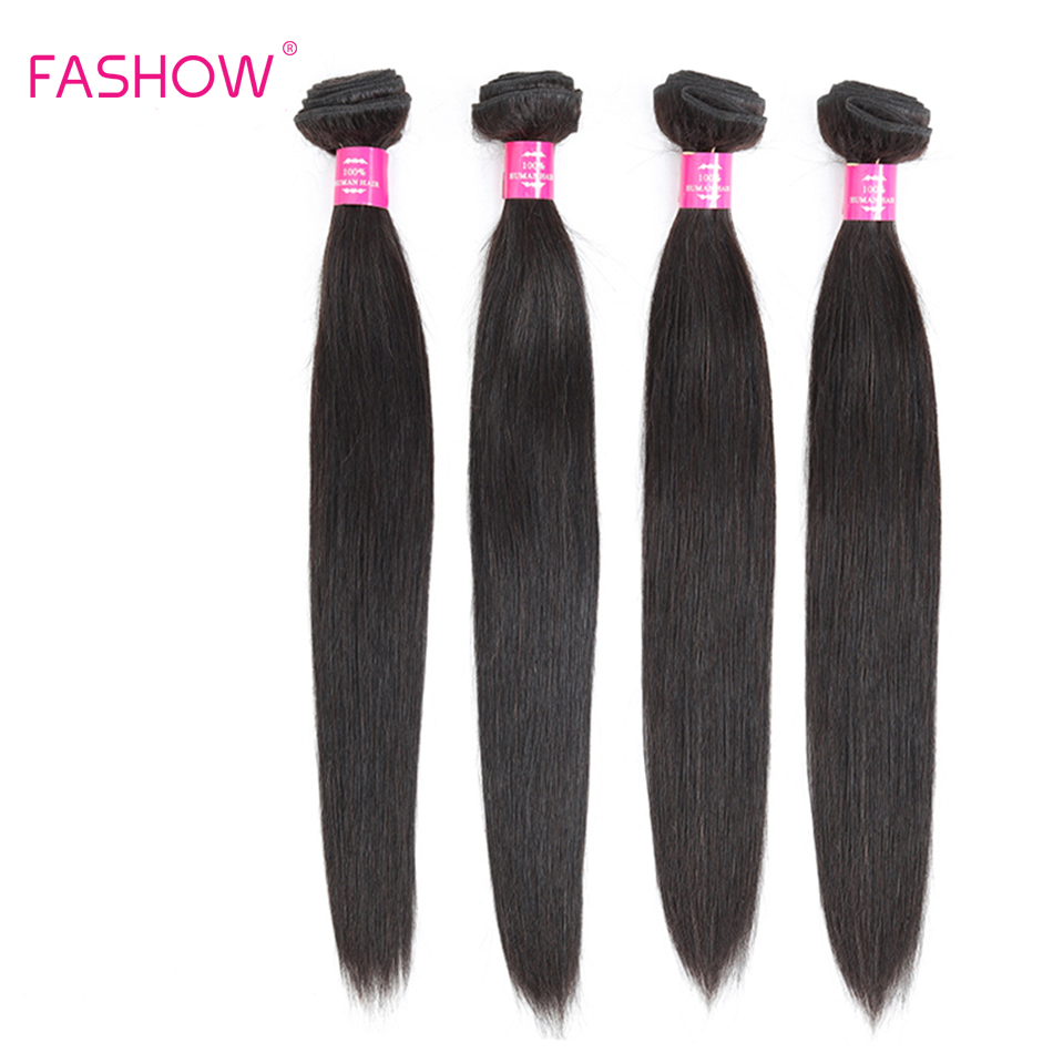 Fashow 8-40 Inch Straight Indian Hair Bundles Natural Human Hair 1/3/4 Bundles Double Wefts Better Remy Hair Weaves