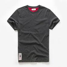 Мужская футболка хлопковая Однотонная Повседневная Базовая с