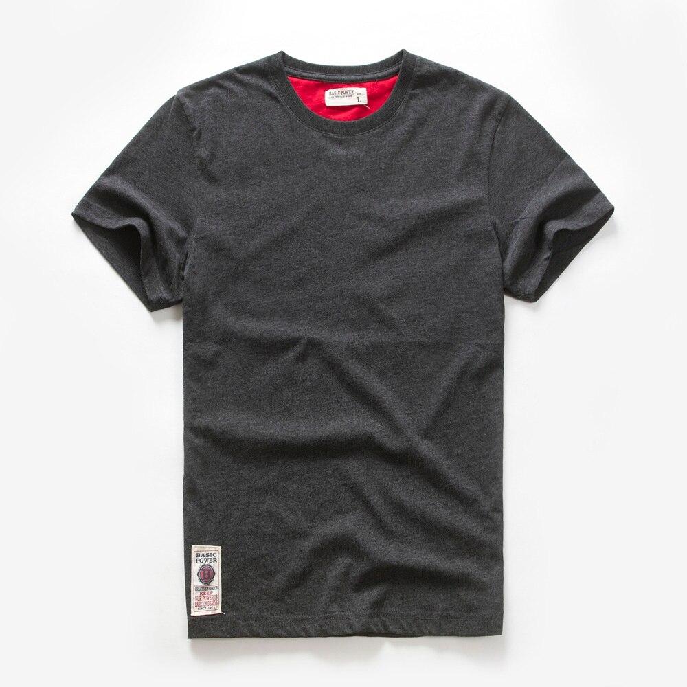 Мужская футболка, хлопковая Однотонная футболка, Мужская Повседневная Базовая футболка с круглым вырезом, мужские классические топы высок...