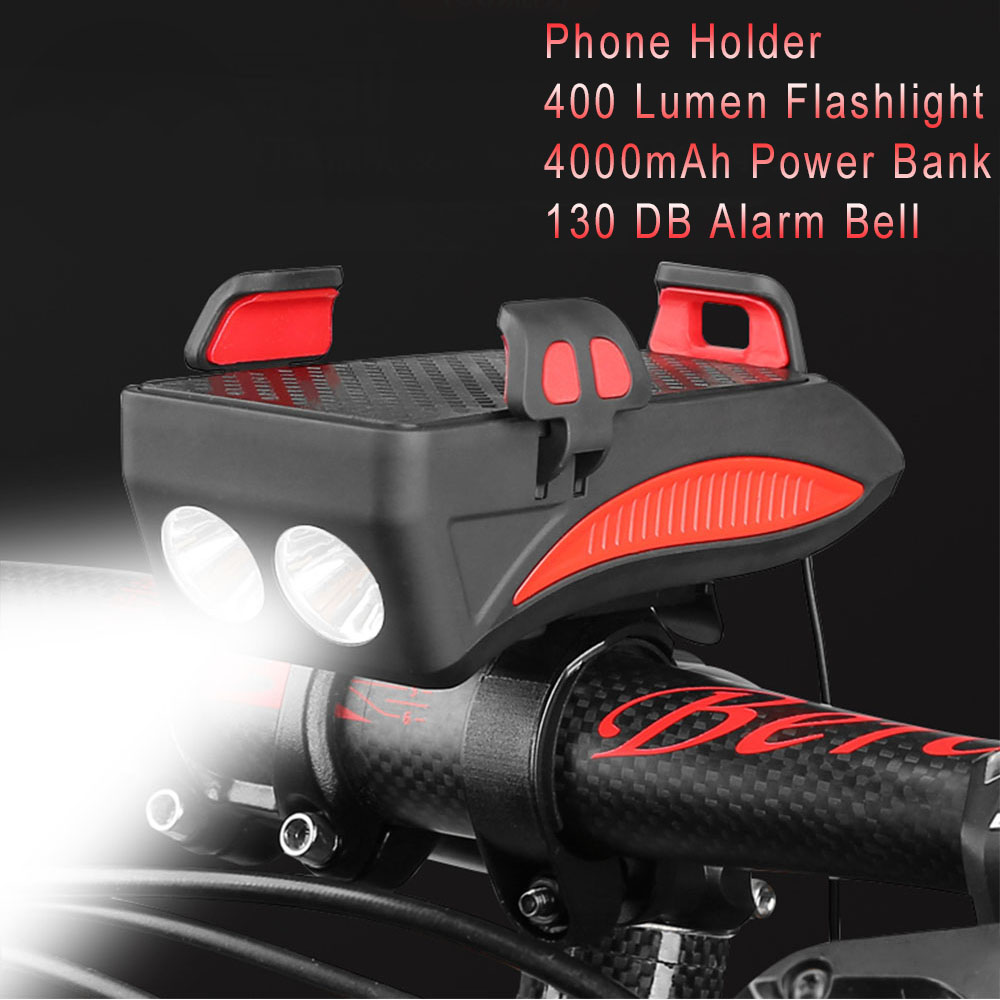 4000mAh 4 In 1 Powerful Bicycle Headlight Waterproof Double Bicycle Lamp Alarm Bell Led Bicycle Light With Rechargeable Battery