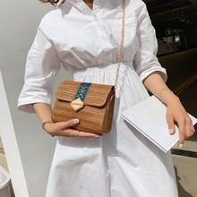Bags For Women 2020 Fashion Woven Shoulder Bag Solid Color Straw Messenger Bag Ladies Casual Chains Hasp Summer bolsa casual straw and solid color design shoulder bag for women