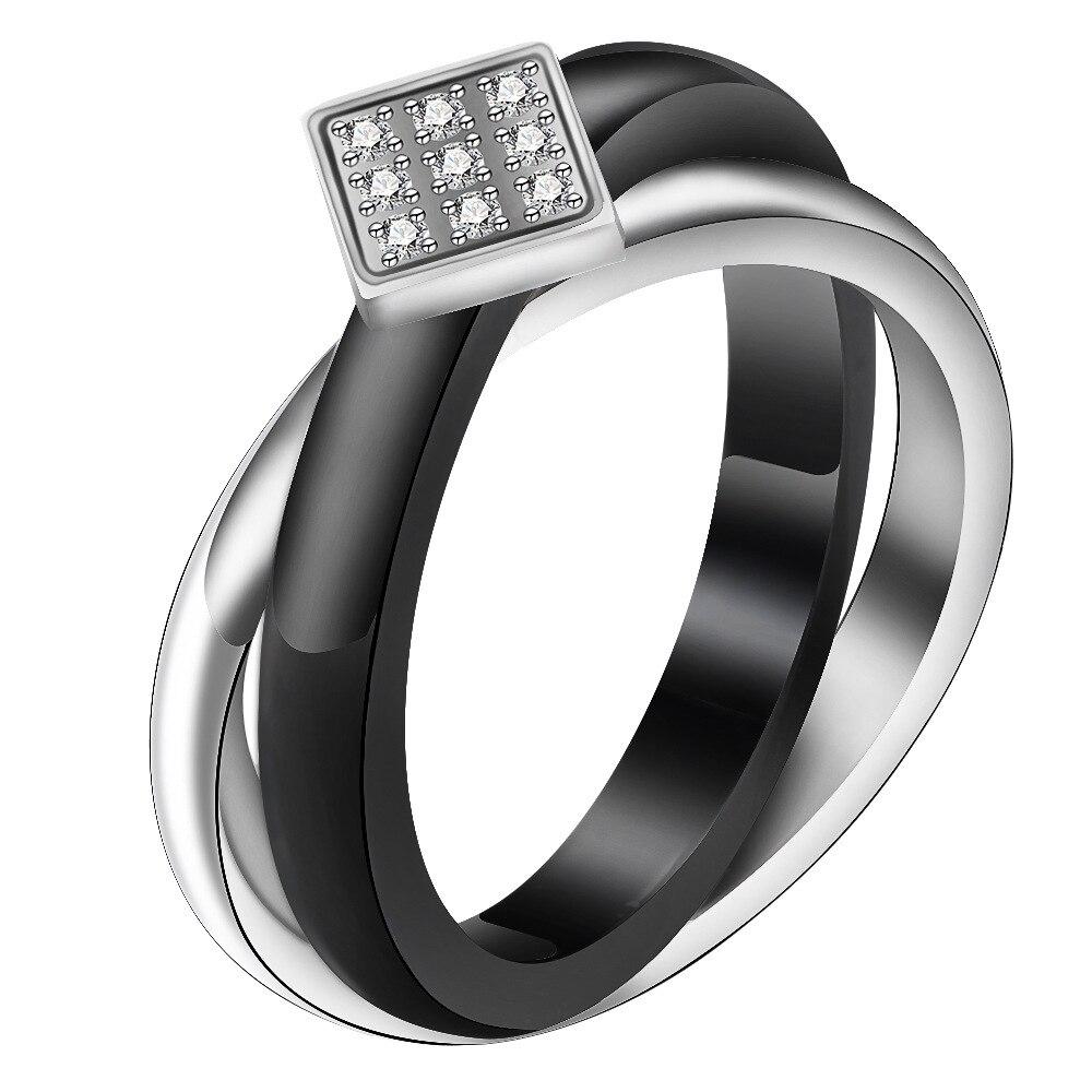 Micro-incrusté zircon dames mode anneau simple en acier titane croix bague en céramique noire