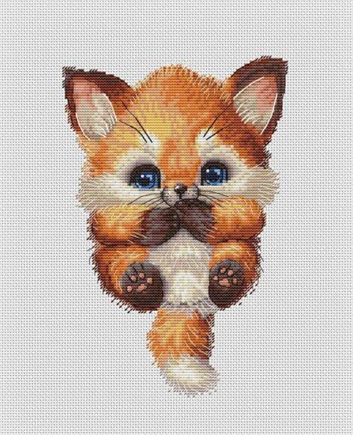 CS-3042 Cross Stitch Kit Cute Fox Cub Animal Pet